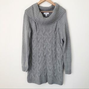 Calvin Klein Cable Knit Cowl Neck Sweater Dress